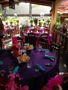 The beautiful set up!  Gerber daisies, leis, beads, wristbands, you name it!  A perfect explosion of pink!